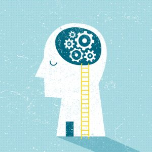 A cartoon profile with gears in the brain, symbolizing mental health.