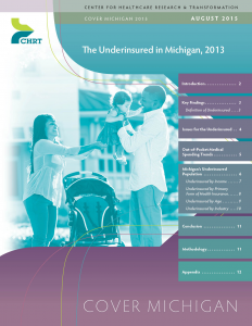 """The cover of the Cover Michigan survey report, titled """"The Underinsured in Michigan, 2013""""."""