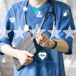 Doctor selecting a rating out of five stars.
