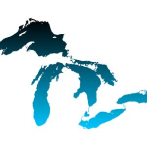 Image of the great lakes, with blue lakes on a white background.