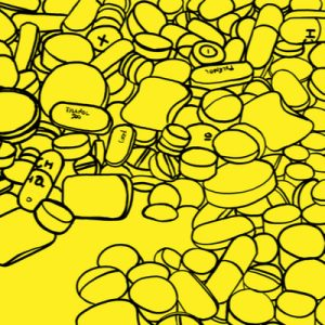 A bright yellow background with black outlines of opioid prescribed by physicians.