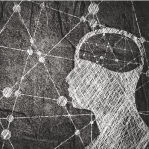 A black and white chalk-style drawing of a profile. The individual represents a person in prison and a node network in their brain represents behavioral health needs.