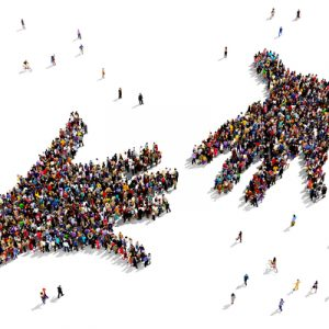 People stand in large groups shaped like two hands reaching toward each other, symbolizing trust and information seeking.